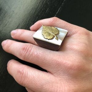 Wood statement ring with gold leaf